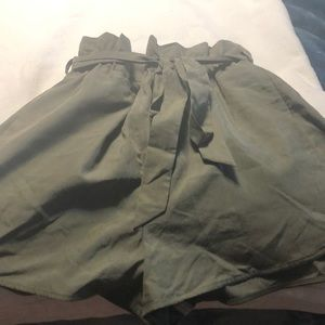 Olive green high waisted silky shorts